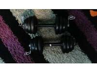 2 x 11.5kg dumbbells = 23kg of metal weight plates