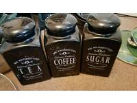 Various kitchen items. Toaster, bread bin, tea/coffee/sugar pots etc