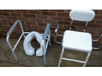 mobility Aid. toilet frame anmnd seat . also adjustable chair