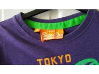 Mens Superdry T-Shirt - Size Small. Purple. VGC.