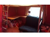 Cabin bed with desk and pull out chair bed