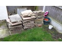 Patio Slabs, Red and White (mostly broken or cut) MUST TAKE ALL