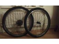 """Pair Of 26 Inch Matrix 550 Wheels For Mountain Bike With Bontrager Tyres Excellent Condition 26"""""""