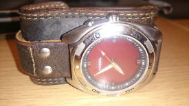 Fossil Watch with leather strap and colour changing face