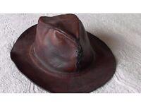 Genuine Peruvian Gaucho Cowboy Leather Hat For Sale Size 6 ½ - 7 inch £20.00