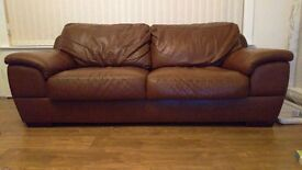2x Real leather brown sofas