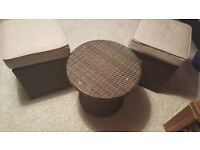 rattan table and two seats