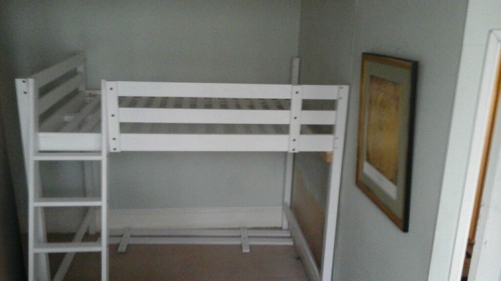 IKEA HIGH DOUBLE 4' 6 BED .......modified to fit small room