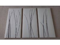 Modern 3 piece canvas set. 10.5 inches by 23.5 inches each.
