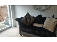 3 seater chesterfield material with studs, almost new & 2.5 seater black seater sofa tassels £1300