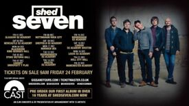2 x Shed Seven standing tickets, Manchester Academy, Friday 22nd December