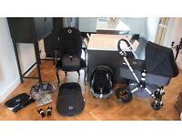 BLACK BUGABOO CAMELEON2 PRAM + MAXI COSI CAR SEAT & MANY EXTRAS-RRP£1200.00