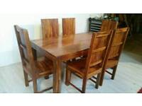 Large Solid Mango Wood Dining Table and 6 Chairs