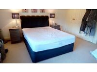 King size 2 draw divan bed with brand new mattress
