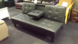 NEW CLEARANCE BLACK FAUX LEATHER CLICK CLICK SOFABED WITH CUP HOLDERS