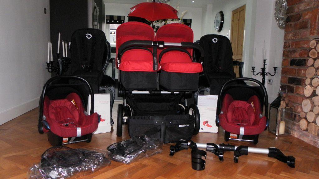 red bugaboo donkey twin 2 maxi cosi cabriofix car seats. Black Bedroom Furniture Sets. Home Design Ideas