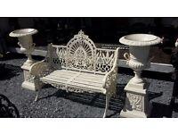 Heavy cast iron garden bench