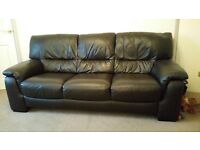 Brown leather 3 piece sofa and chair