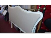 FRENCH STYLE SOLID WOOD & FABRIC KING SIZE HEADBOARD COST £299 BRAND NEW AND BOXED