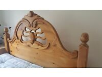 Solid Pine King Size Bed with Unique Carved Design