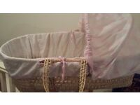 Baby moses basket with mattress AND STAND