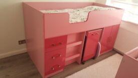 PINK GIRLS MID SLEEPER BED WITH STORAGE