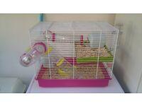 roborovski dwarf hamster and cage food toys