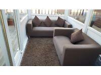 2 brown modern compact sofas