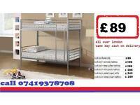 single metal bunk split in 2 single Base available , Bedding