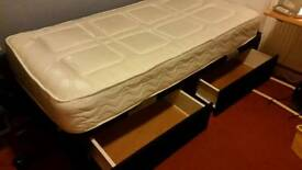 Bed, 2 draw 3ft divan complete with mattress & headboard.