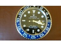 rolex wall clock..dealer display ..steel outer case ..sweeping second hand