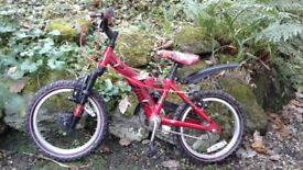 Raleigh Atom Bike 16 wheels in red/black/gold. Used but VGC - see photos