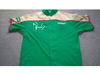 AUTOGRAPHED PHIL THE POWER TAYLOR DARTS SHIRT.