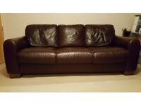 Large Brown Leather 3 seater sofa