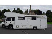 Mercedes 814 7.5T, Motorhome Race Truck, Large Transporter Garage, Coach built. Camper van
