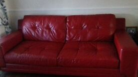 Red Leather Sofa - amazing condition