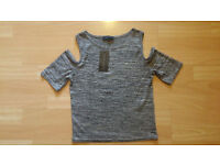 New with Tags Silver Metallic Cut Out/Cold Shoulder Stretchy Fitted Summer Top New Look - Size 10