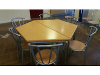 Hexagon 2 Part Dining Table or Desk and 6 Chairs