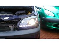 vauxhall zafira audi drl headlights 1999 to 2005 models custom lights rare