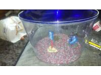FISH BOWL STONES ORNAMENTS AND PUMP EX CON NEVER BEEN USED
