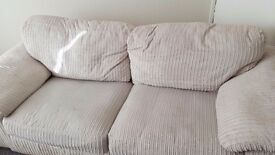 Luxury cream cord three piece suite