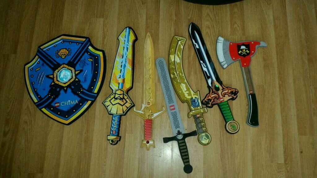 Six Lego Foam Swords And 1 Shield Chima Fireman Etc In