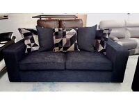 BRAND NEW LARGE 3 SEATER DESIGNER SOFA BLACK FABRIC CAN DELIVER View Collect Kirkby NG17