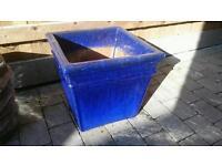 Blue glazed square plant pot!!