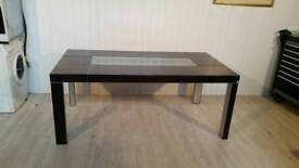 Black Dining Table with Glass Top