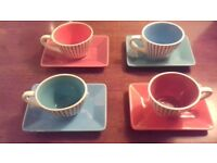 Modern, colourful set of demi-tasses coffee cups