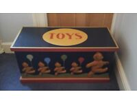 Lovely toy box with carved teddy bears