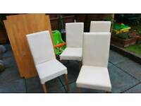 Wooden dining table and 4 white cream chairs