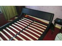 King size faux leather style bedstead