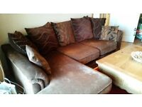 BROWN FABRIC CORNER SOFA AND FOOT STOOL EXCELLENT CONDITION